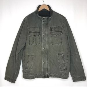 Levi's Men's Denim Utility Jacket Army Green Medium Trucker Barn Coat Insulated